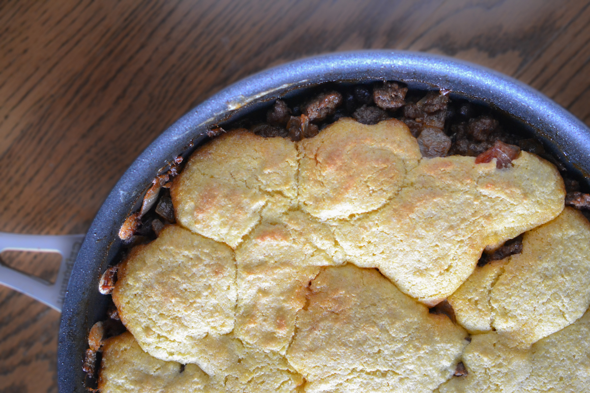 Cornbread + Jalapenos + Ground Beef = an affordable one pan twist on tamales.