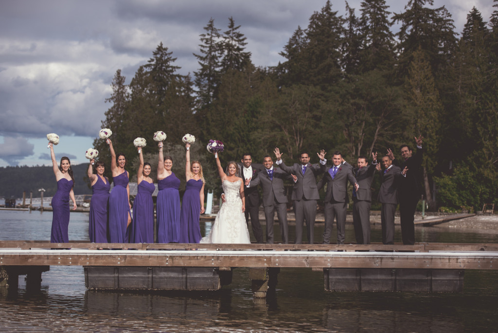 Bridal Party on the dock at Alderbrook