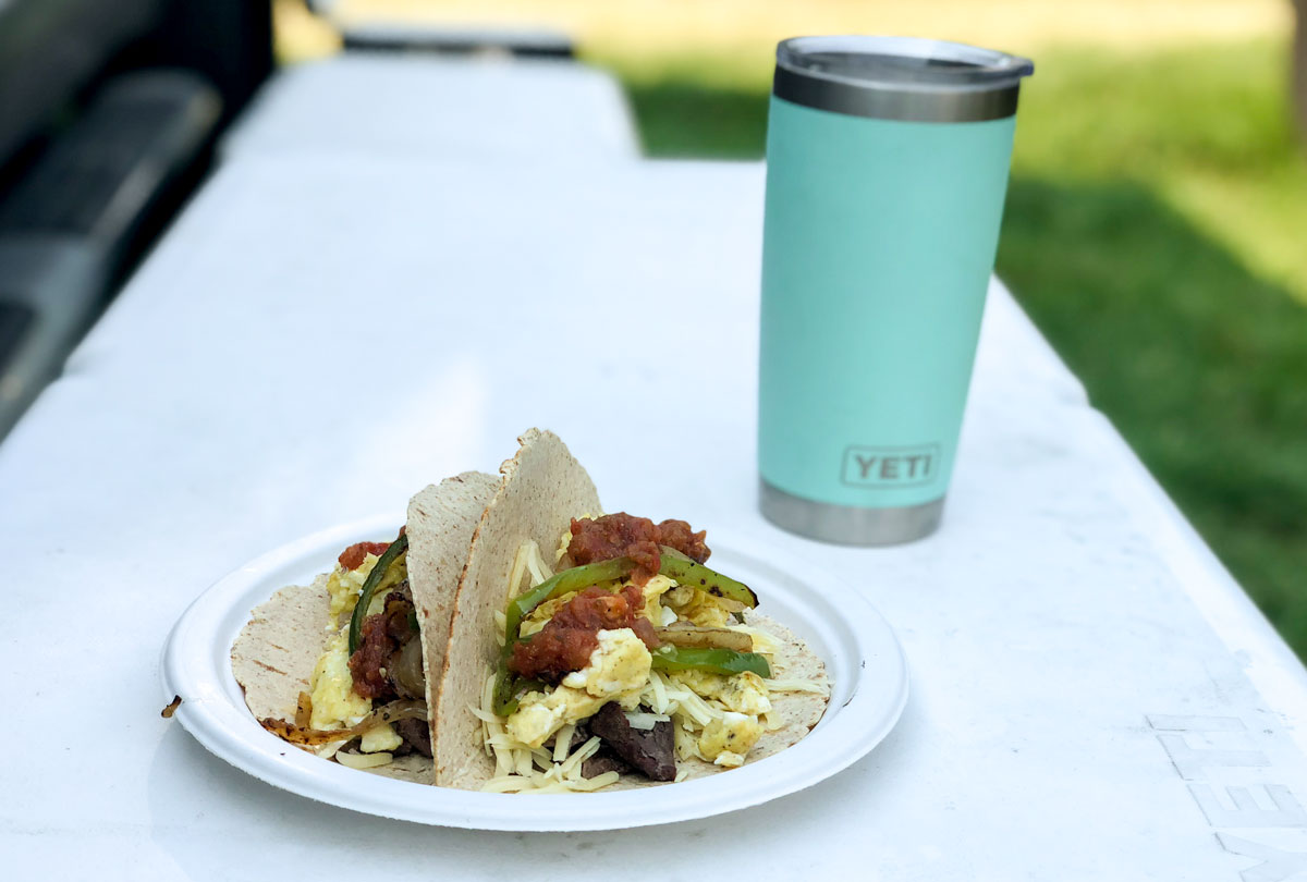 Watershed breakfast tacos on a Yeti table