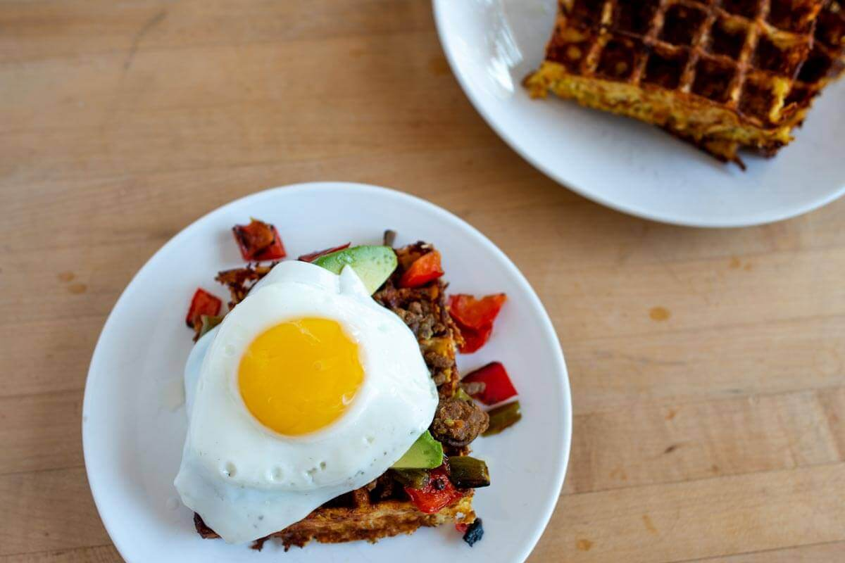 Cauliflower Waffles with a fried egg