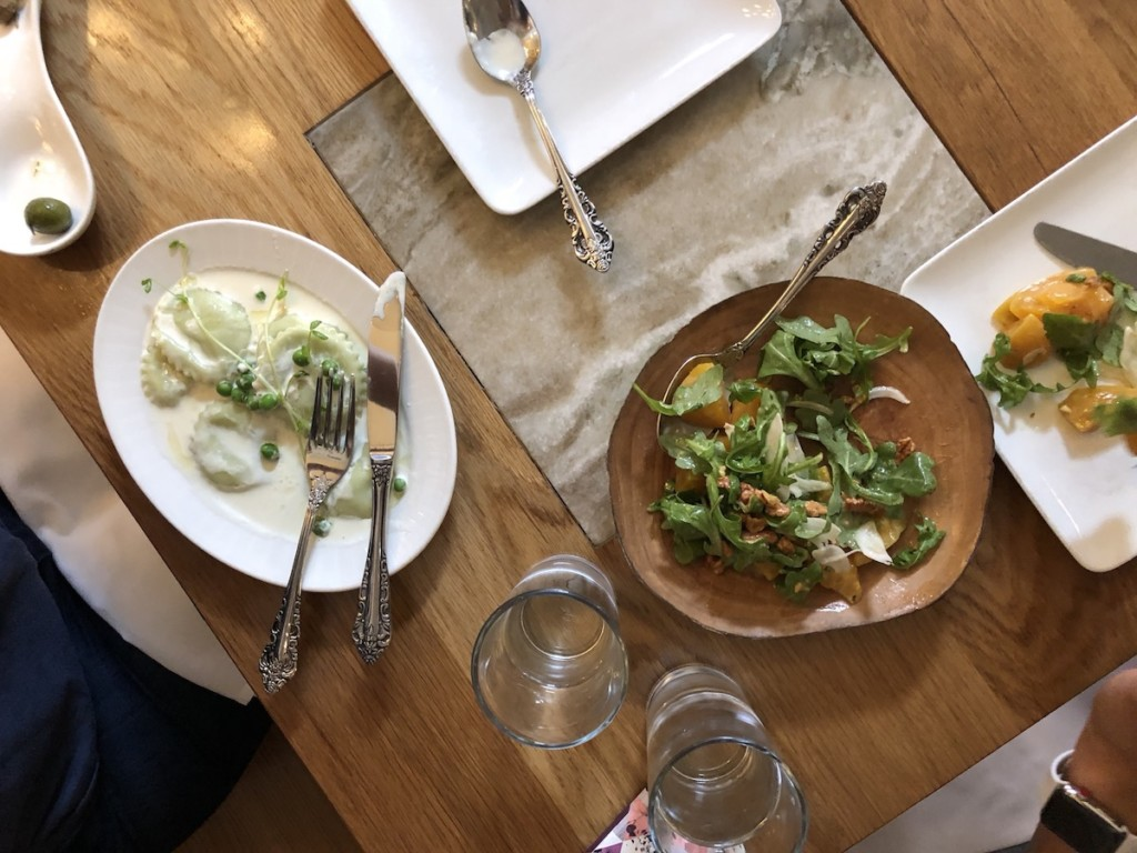 lunch ravioli and beets