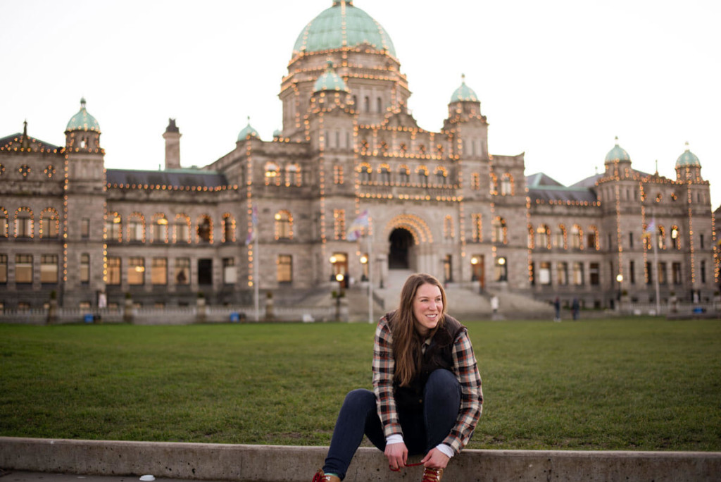 Mikaela in front of the Victoria Parliament