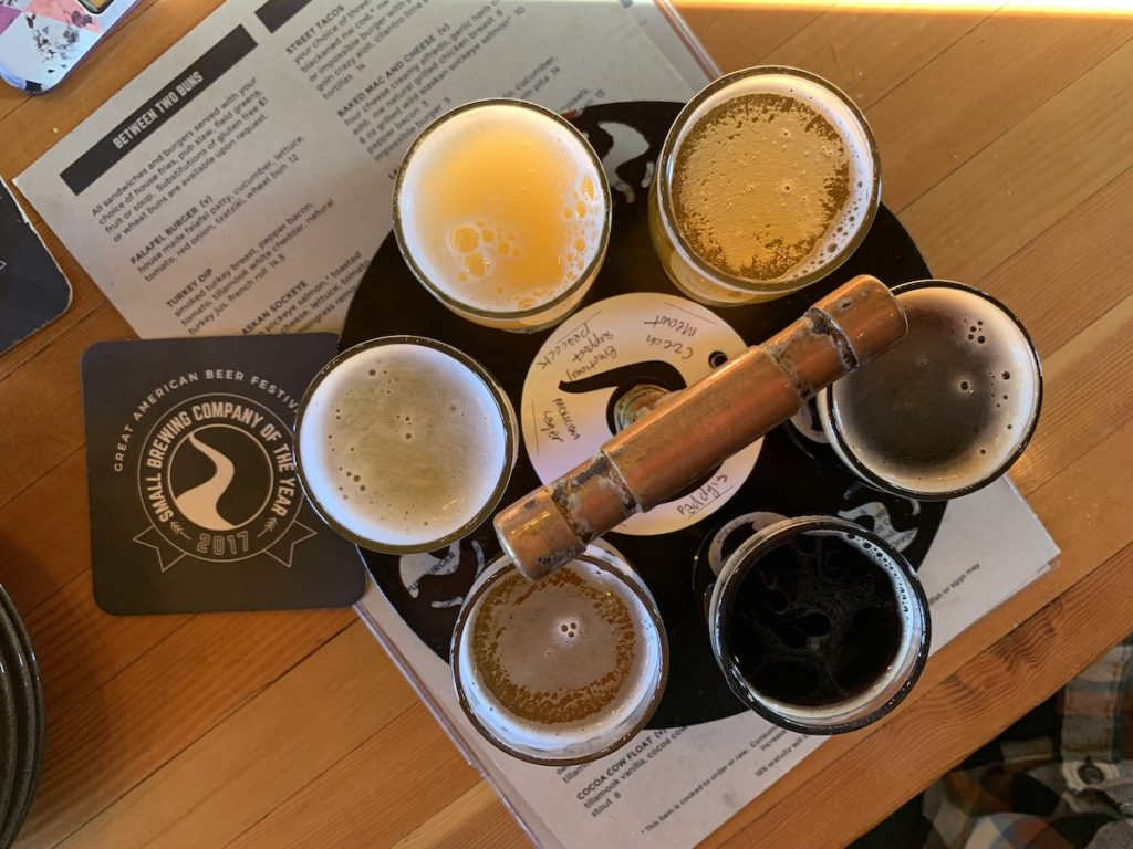 Sunriver Brewing beer flight