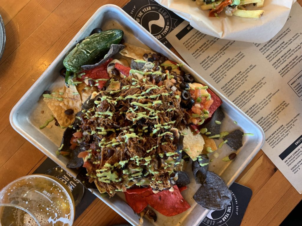 Sunriver Brewing pulled pork nachos