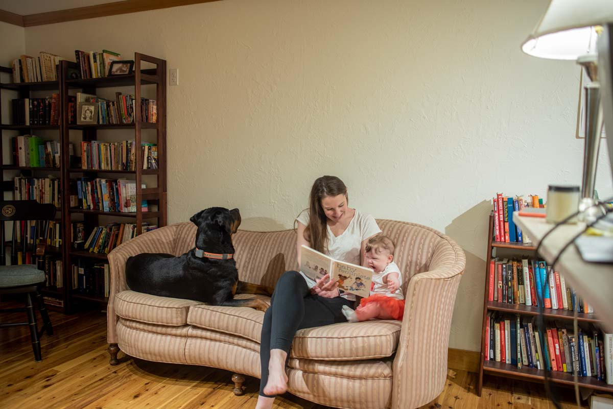 reading with a baby
