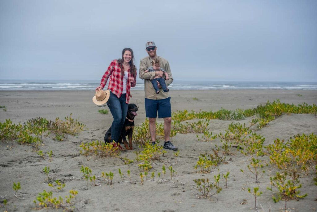 Family on the Beach at Ocean Shores